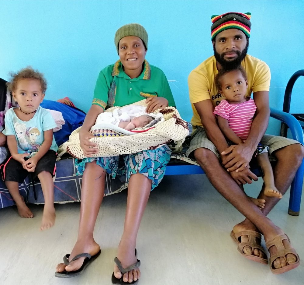 Pretty Sophie (left), Henrieta, and parents Lovina John and Chris Dome were at the Pimaga Maternal Waiting Village for a week before their latest bundle of joy was delivered last Wednesday.