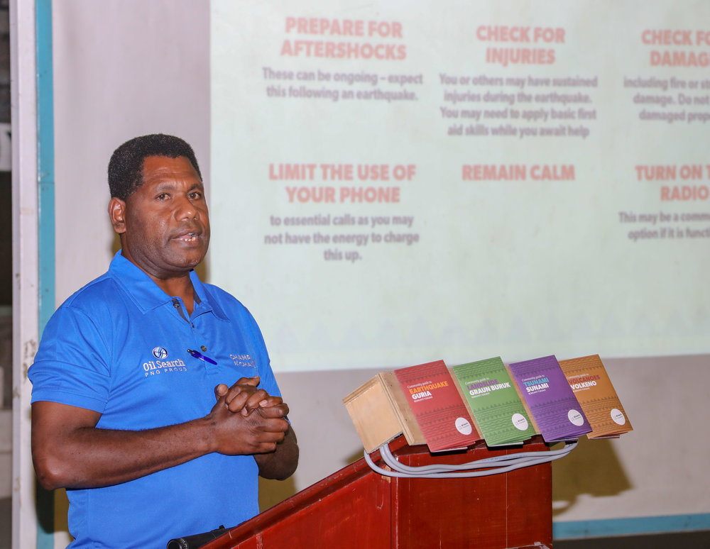 OSL Safety Officer Joseph Rangan speaks at the launch of the Disaster Series Toolkits.