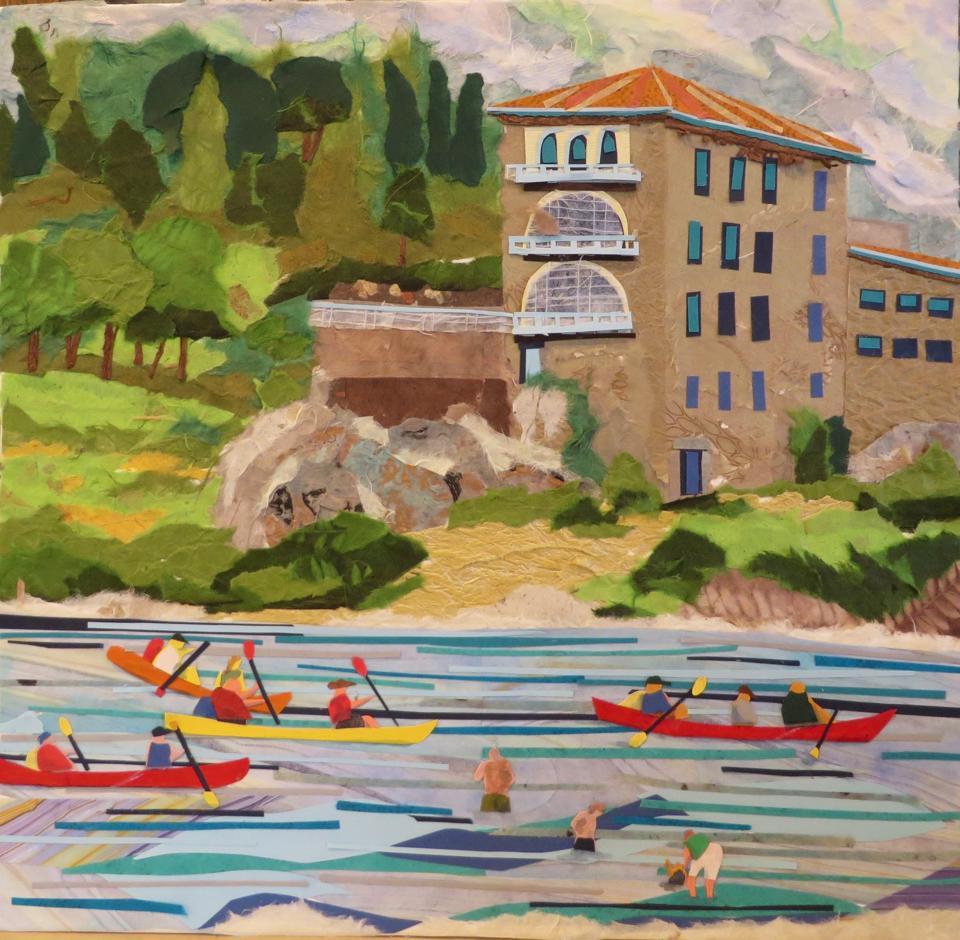 Kayaks and Bathers, Post Du Gard