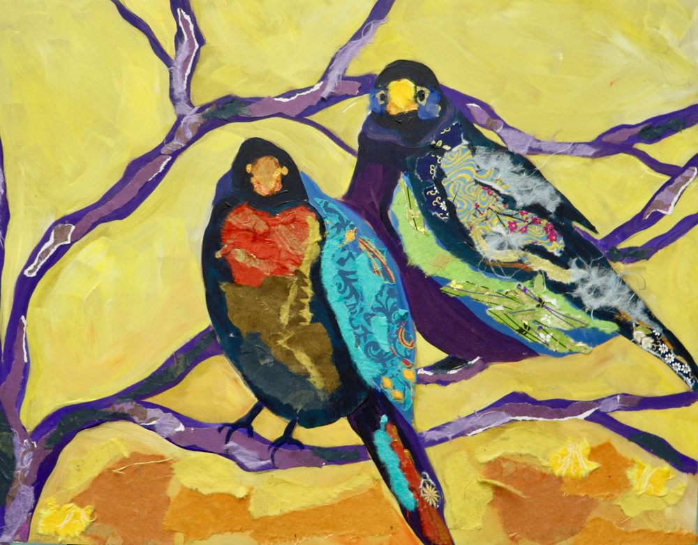 Birds in Yellow and Violet
