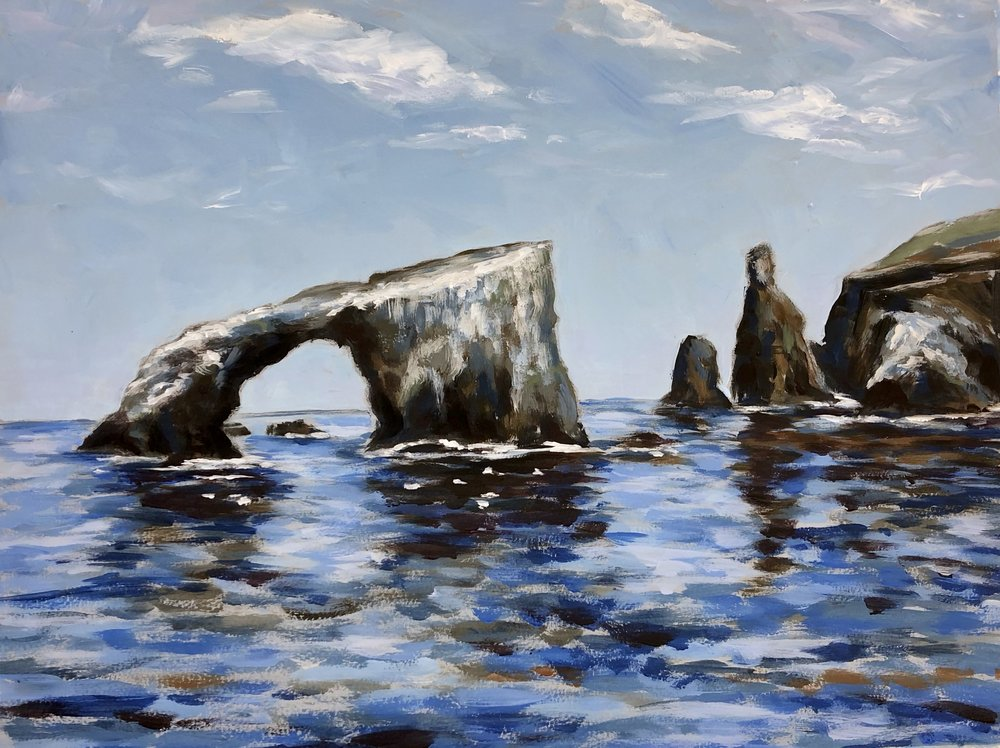 Natural Bridge, Anacapa - Channel Islands National Park - Acrylic on Colorfix Paper