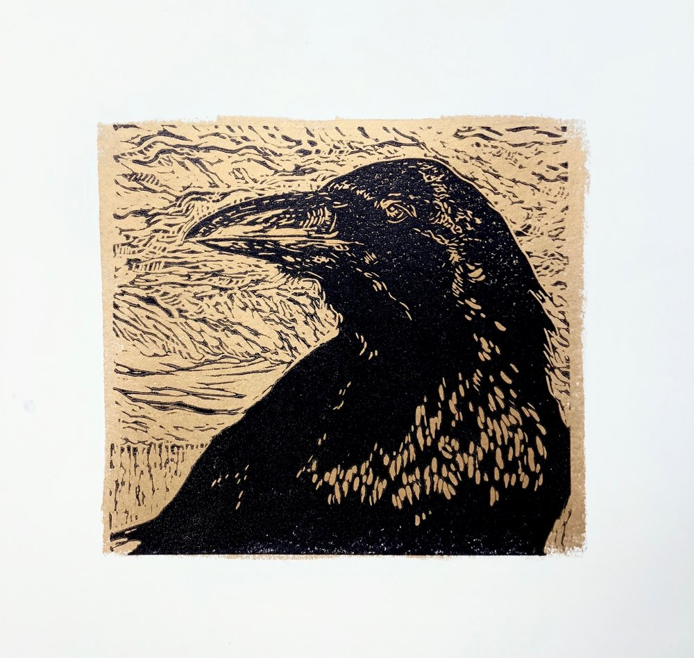 Portrait of Raven in Gold - Zion National Park - woodcut print