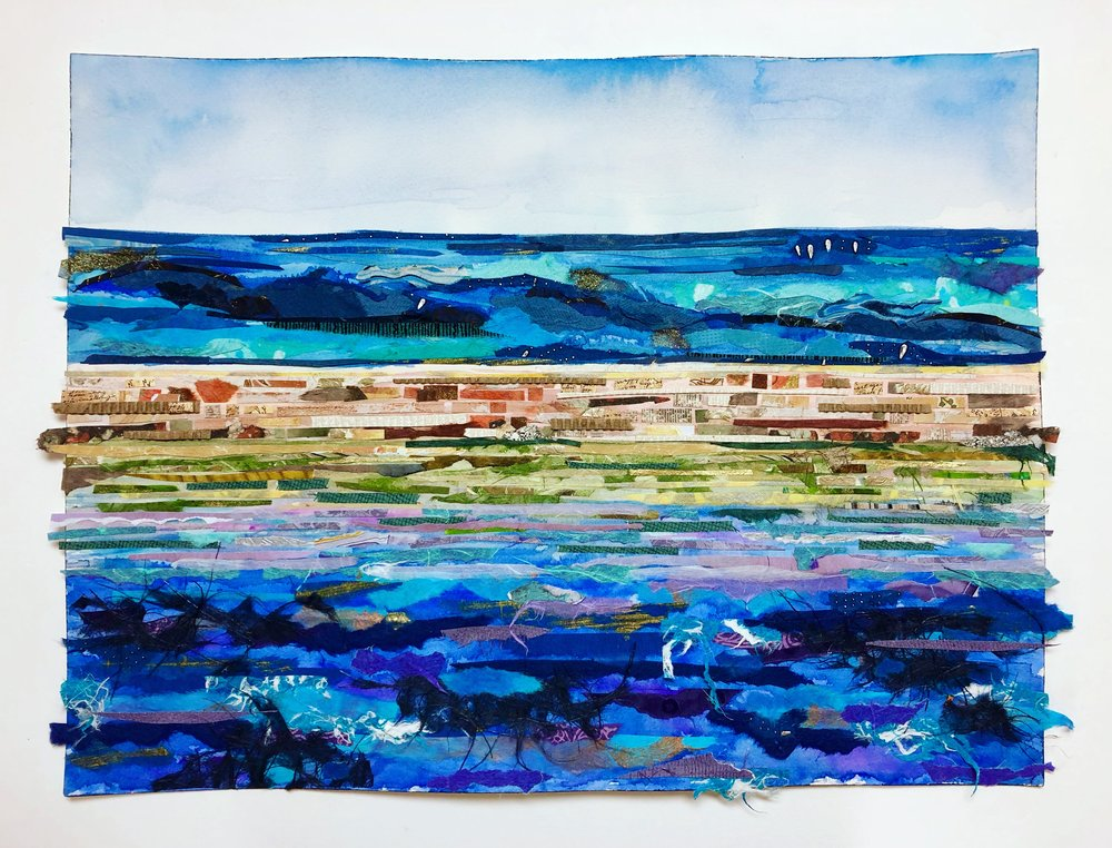 View Out to Seas - Dry Tortuga National Park - watercolor and collage