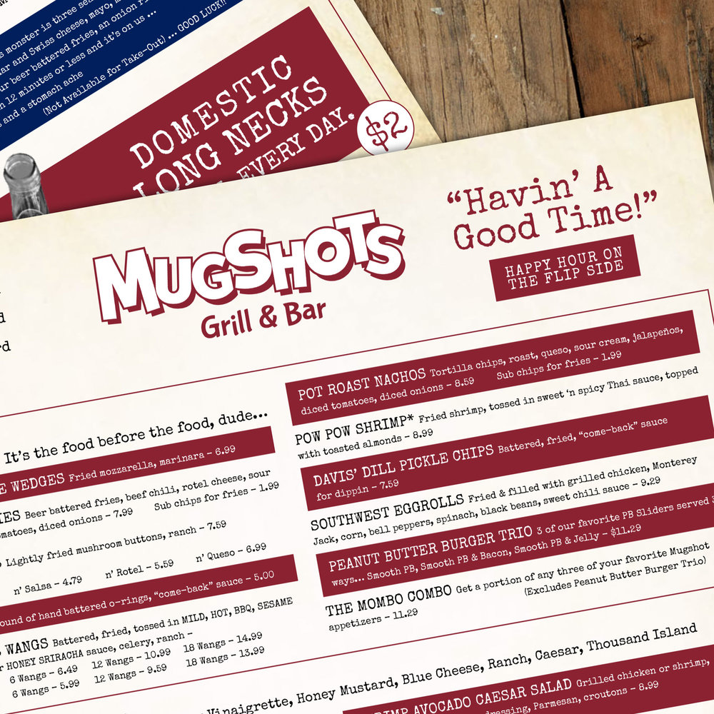 Menu Design: Mugshots Grill & Bar