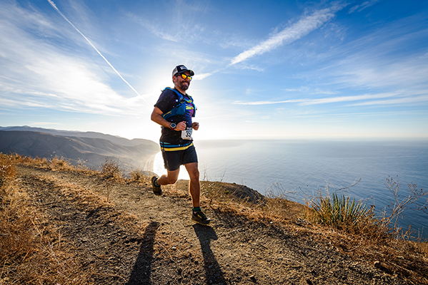 The author in the early miles of the Ray Miller 50K trail race, high above the Pacific.