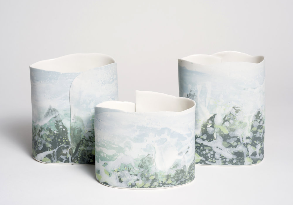 Fjords, Imperial Porcelain Slip and Stains, 2018 Photo credit Brenton Mcgeachy