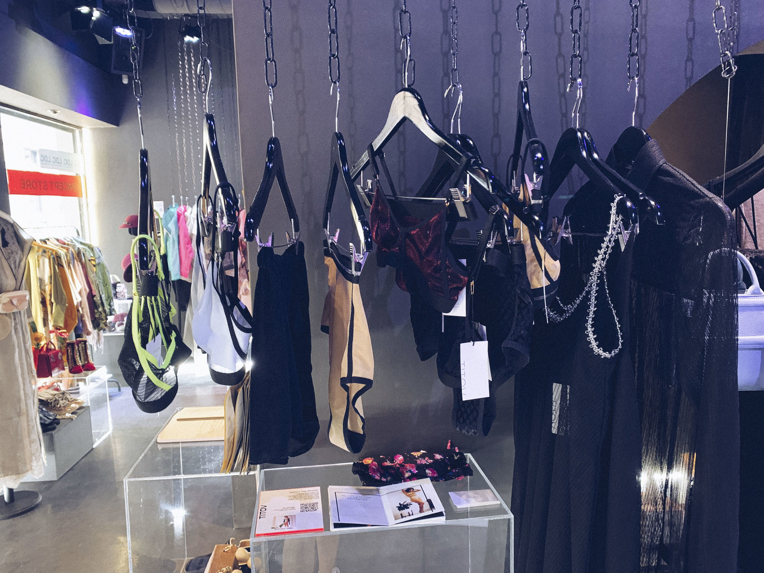 Lingerie hanging in a store in milan during fashion week