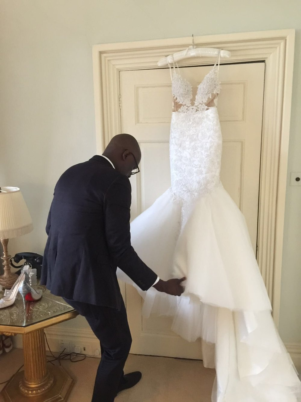Designer Yemi Osunkoya at work on a bride's big day