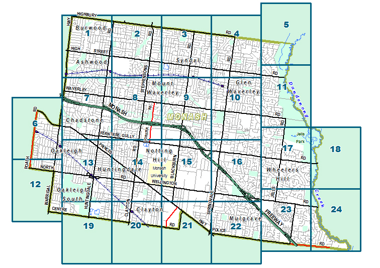Map of the suburbs located within Monash City Council.