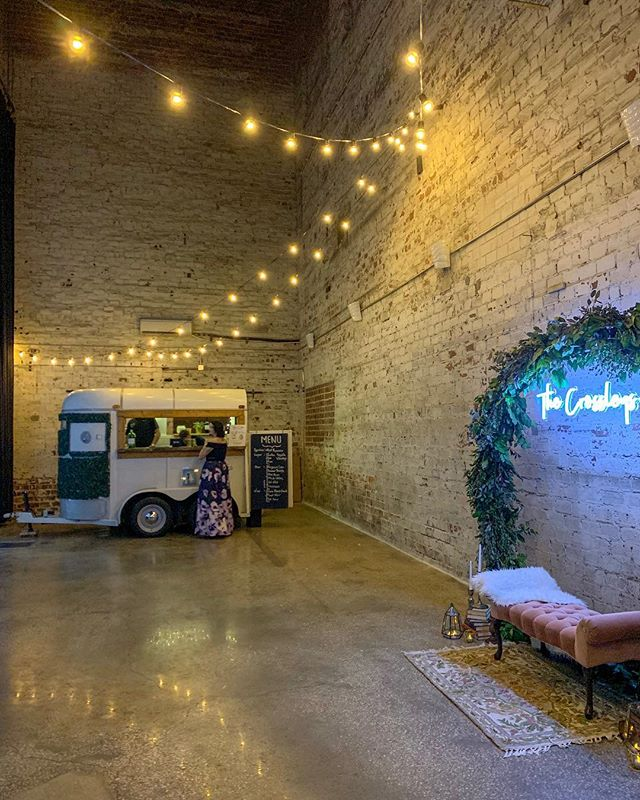 #industrialwedding vibes for the win! Something about exposed brick, #neon and a sick #mobilebar that just #feels right. Your thoughts?!