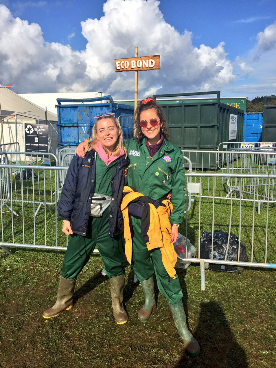 Robyn and I taking part at Bestival 2017 as Green team ambassadors, outside the eco bond hub.