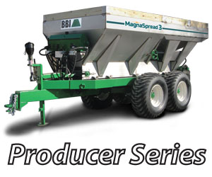 MagnaSpread3 Pull-Type - BBI MagnaSpread3 Pull-Type - Patented - Three Independent Hoppers - with Independent Variable Rate - Fertilizer Lime Spreader. Ideal for Precision Dry Material Application - Advanced Technology for the most sophisticated farmer! MagnaSpread3 is designed to keep up with the latest advancements in prescribed, guided, variable rate nutrient application.