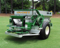 CRICKET - BBI's Cricket is a precision granular fertilzer and lime spreader specifically designed for golf course environments, as well as sod and turf farms. The Cricket utilizes wide flotation tires for minmial soil compaction. Built with a strong, narrow frame, Cricket is highly maneuverable in intricate course layouts and other turf environments.