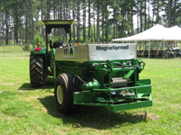 MAGNASPREAD 8' - Along with Cricket, the eight-foot model of BBI's flagship fertilzer and lime spreader line, Magnaspread, is optimized for golf course environments. This compact, single-axle model delivers precision fertilzer and lime applications suitable to work as a pull-type complement to golf course tractors. MagnaSpread--the high-precision choice for your golf course and turf management needs.
