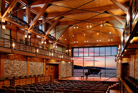 37 Main St, Rockport, MA 01966 - 334 max cap  Beautiful new (opened in 2010) waterfront hall with unforgettable design and chamber-quality acoustics. This venue caters to the Greater Boston/North of Boston media market and is located 45 miles north of Boston.  Venue Site  |  Map