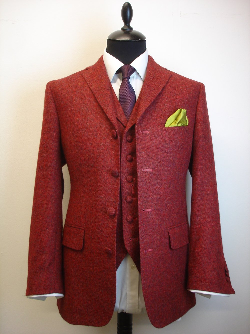 3 Piece Vintage Style Tweed Suit In Raspberry Herringbone Tweed