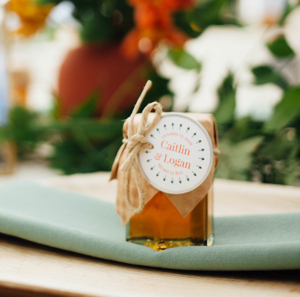Our honey comes from hives at the farmette and around boulder county. - Each jar holds 3 ounces of honey, is topped with a gold lid and craft paper, and decorated with your personalized label. They are the perfect size for travel!