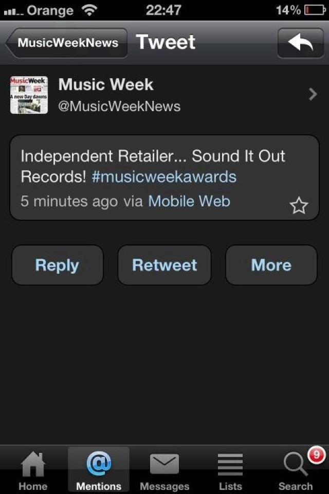 Sound It Out Records wins at Music Week Awards