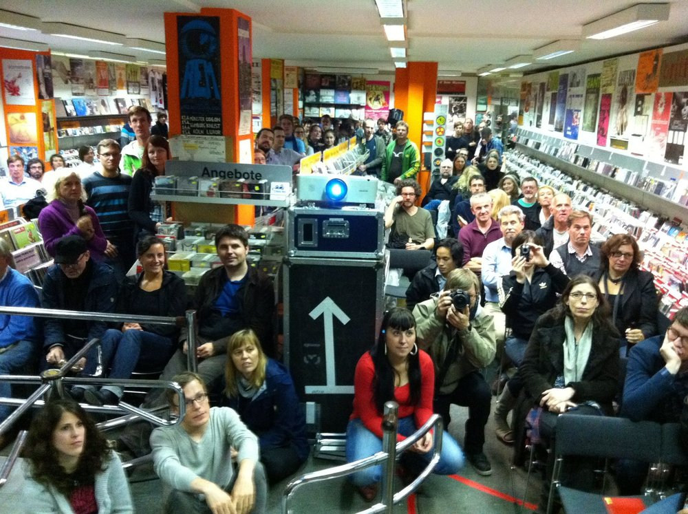 Record shop screening in Hamburg, Germany
