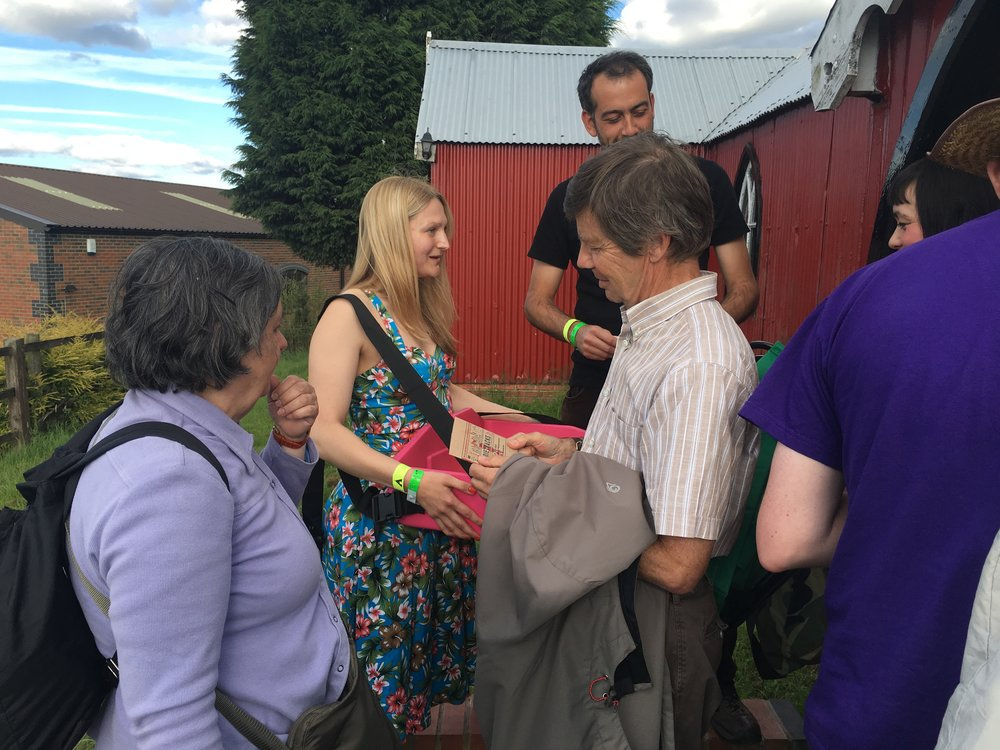 Editor Alice Powell sells dvd at the screening