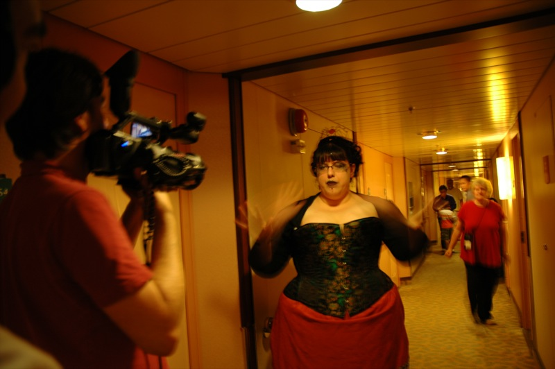 Filming on the cruise