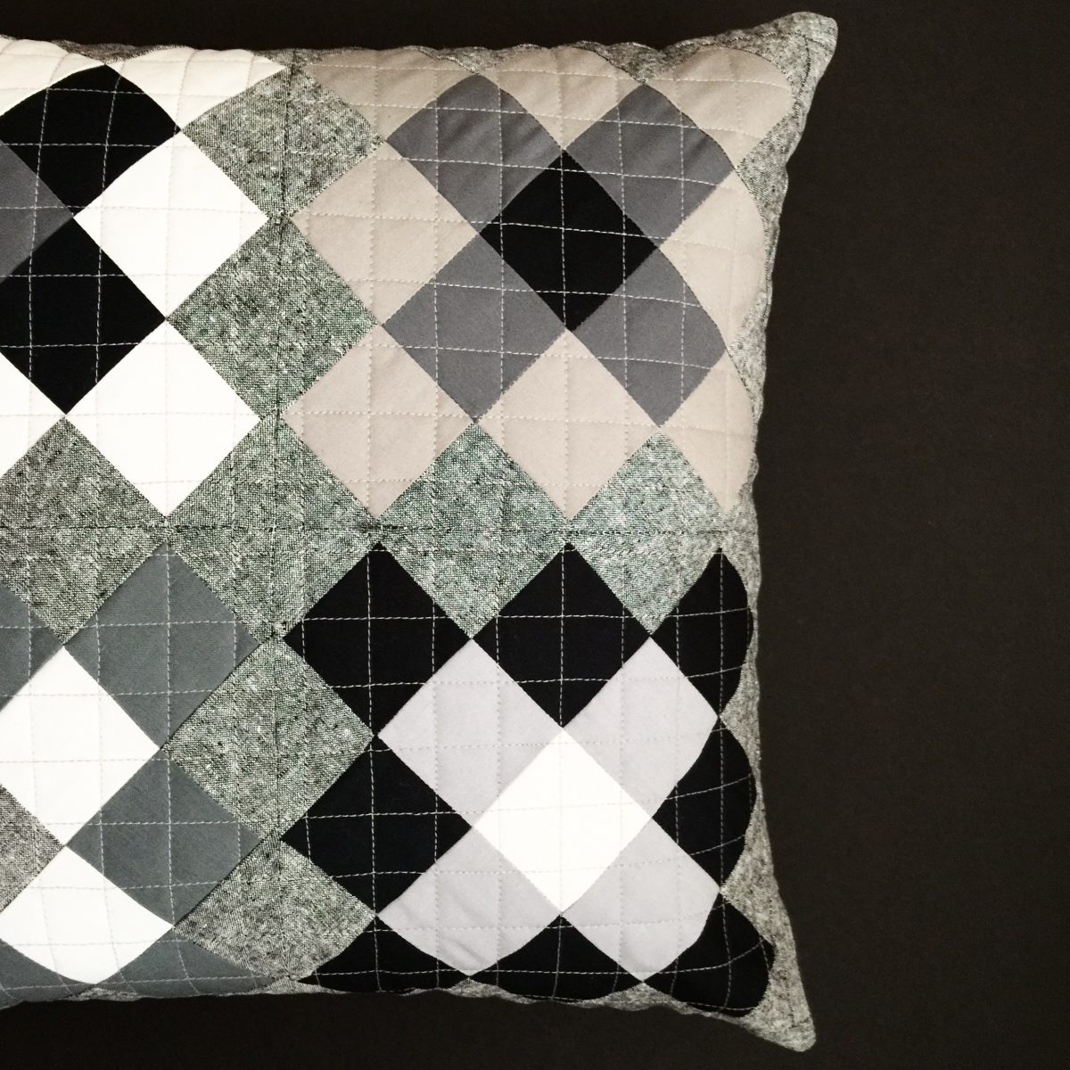Grayscale Granny Square Pillow / 2015