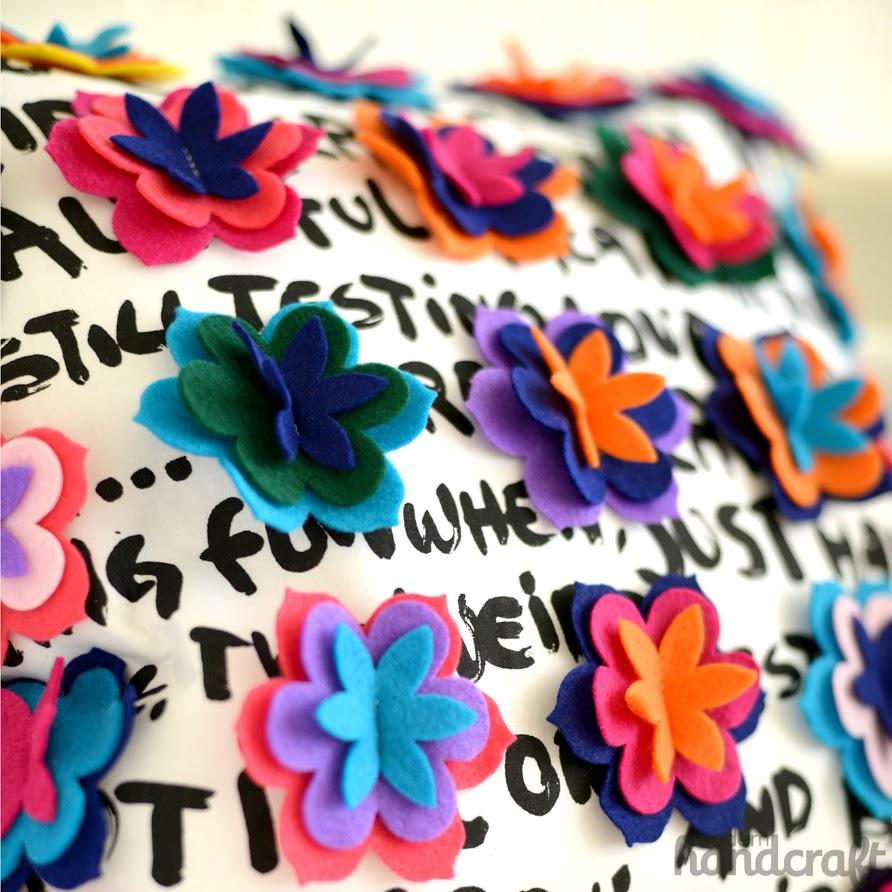 Modern Handcraft for Sizzix : Flower Power Felt Flower Pillow // A Tutorial