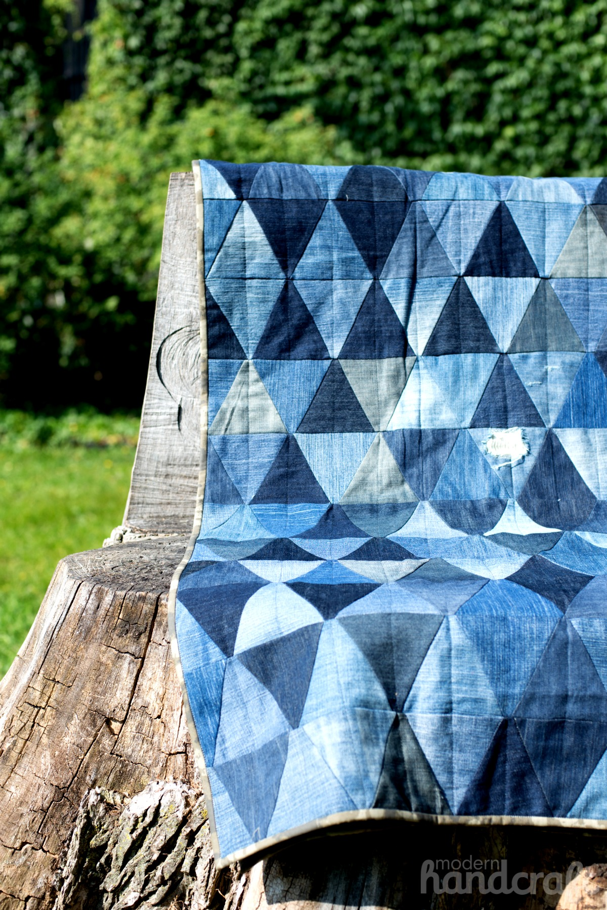 Modern Handcraft - Denim Triangles // Bloggers Quilt Festival