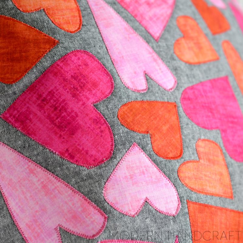 Modern Handcraft // Hearts Appliqué Pillow for Sizzix: A Tutorial