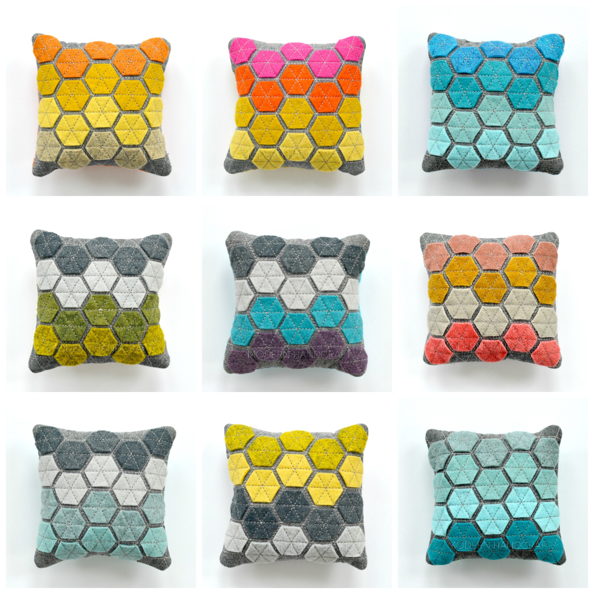 Modern Handcraft // Hexie Pincushions for sale