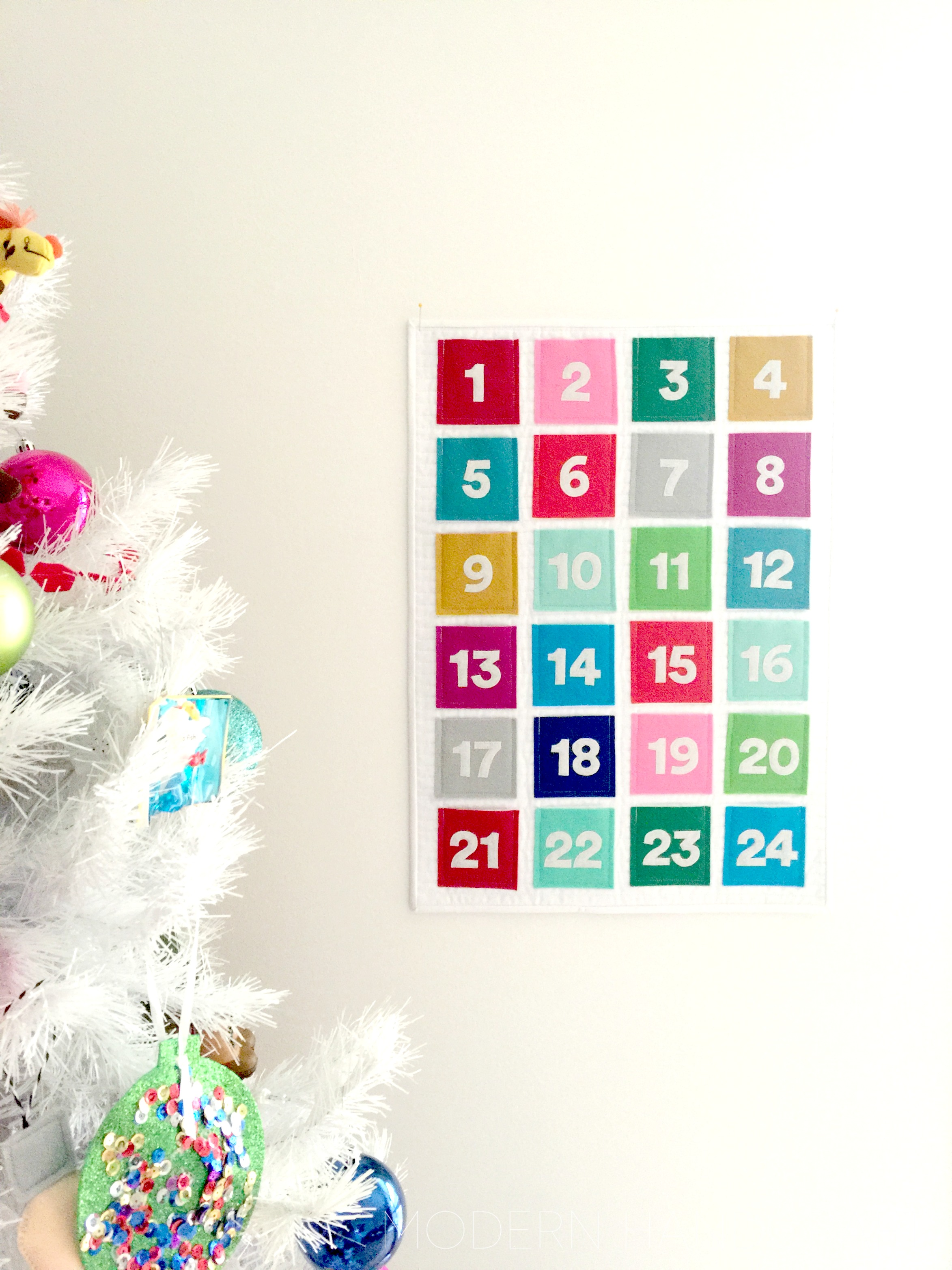 Quilted Felt Advent Calendar // Modern Handcraft for Janome