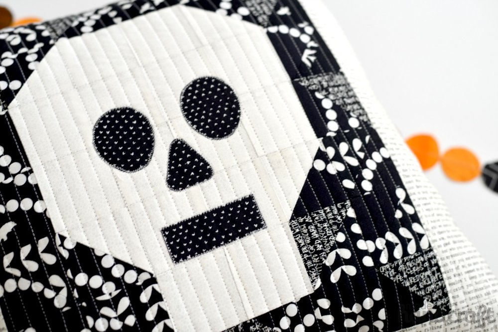 Quilted Skull Pillow -