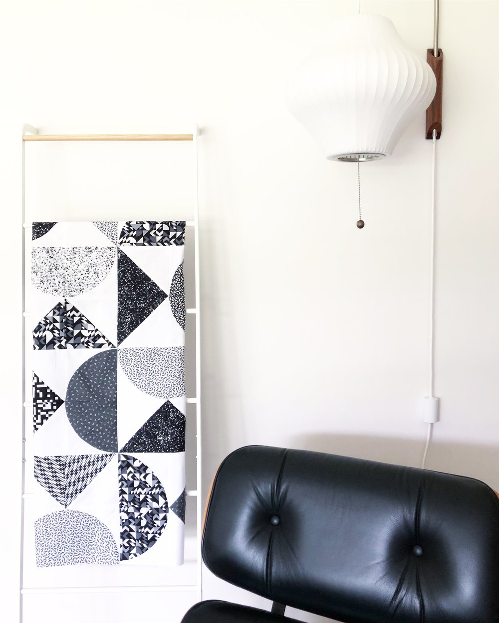 Pivot - Featuring fabric by Libs Elliot for Andover fabrics. I love how the black and white creates such a graphic punch. The pattern also compliments the design of the print with curves and sharp lines.