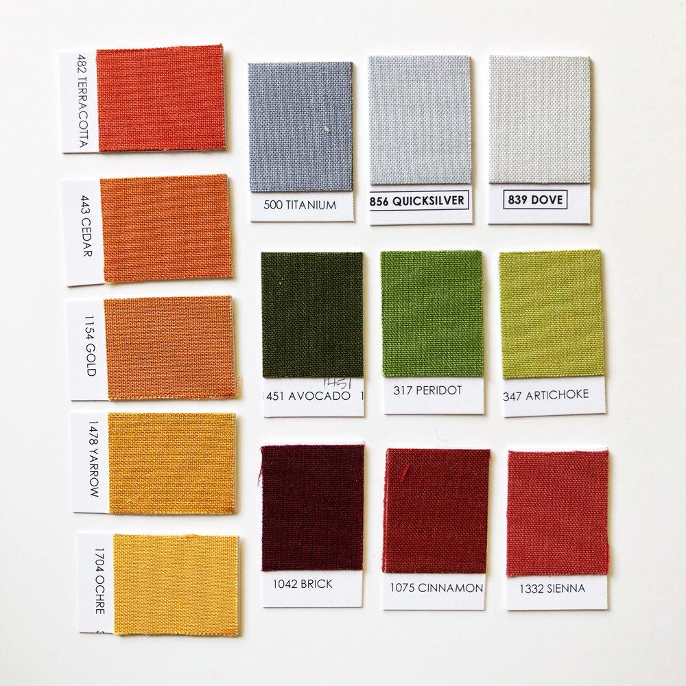 Autumn Palette - Terra Cotta / Cedar / Gold / Yarrow / Ochre / Titanium / Quicksilver / Dove / Avocado / Peridot / Artichoke / Brick Cinnamon / Sienna