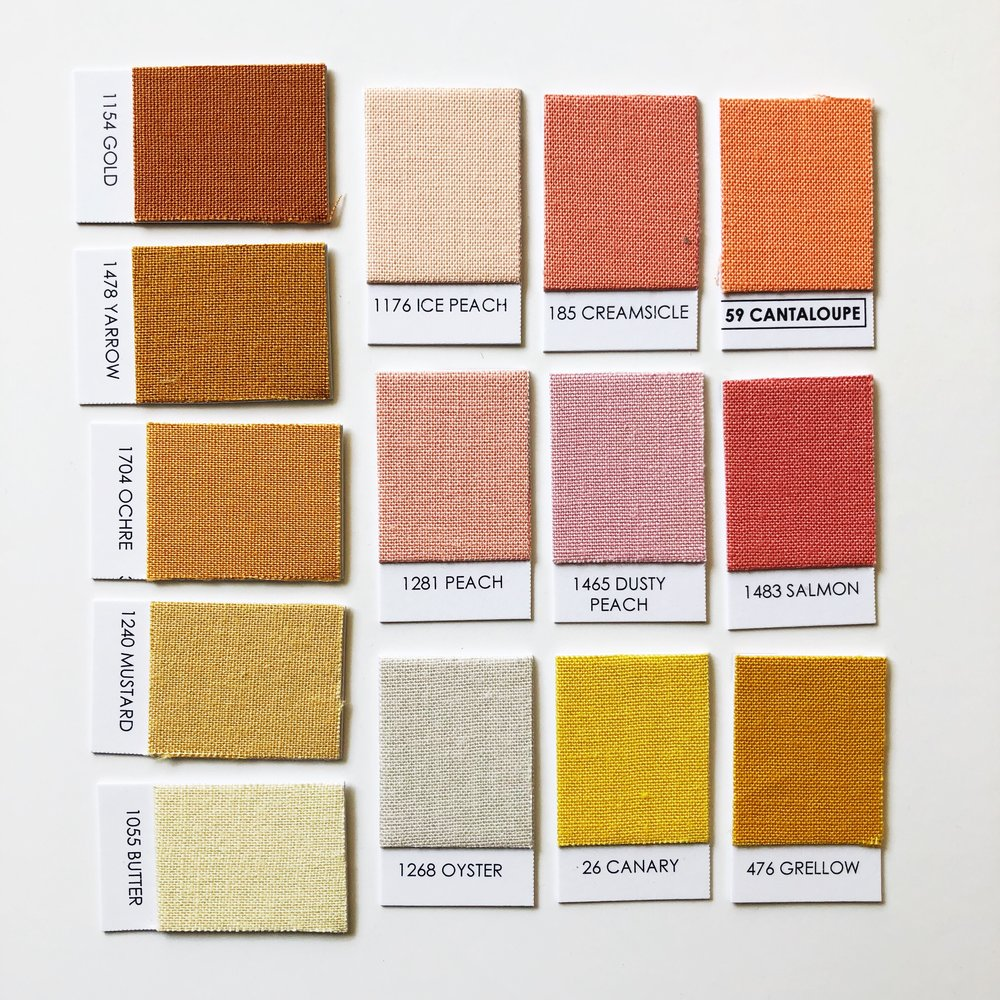 Apricot + Honey Palette - Gold / Yarrow / Ochre / Mustard / Butter / Salmon / Oyster / Ice Peach / Creamsicle / Cantaloupe / Peach / Dusty Peach / Canary / Grellow