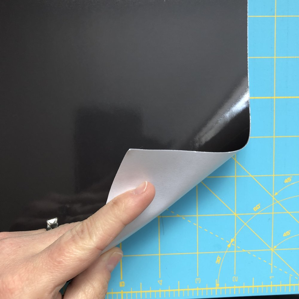 "If you would like to add a magnetic backing to your swatch card take a sheet of adhesive magnet sheets and cut into pieces measuring 1"" x 1 1/2""."