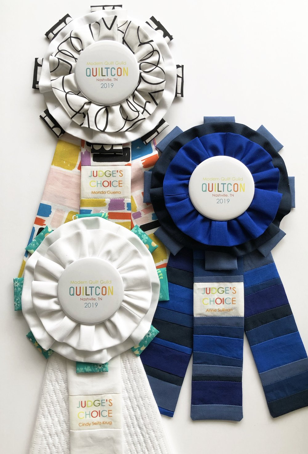 For Judge's Choice I try to get a little more personal and creative and match up the ribbons a bit with the judge. I do not personally know any of the judges this year (I met Anne at QuiltCon) so I had to go by what I heard or saw online. Always a challenge - but a fun one!