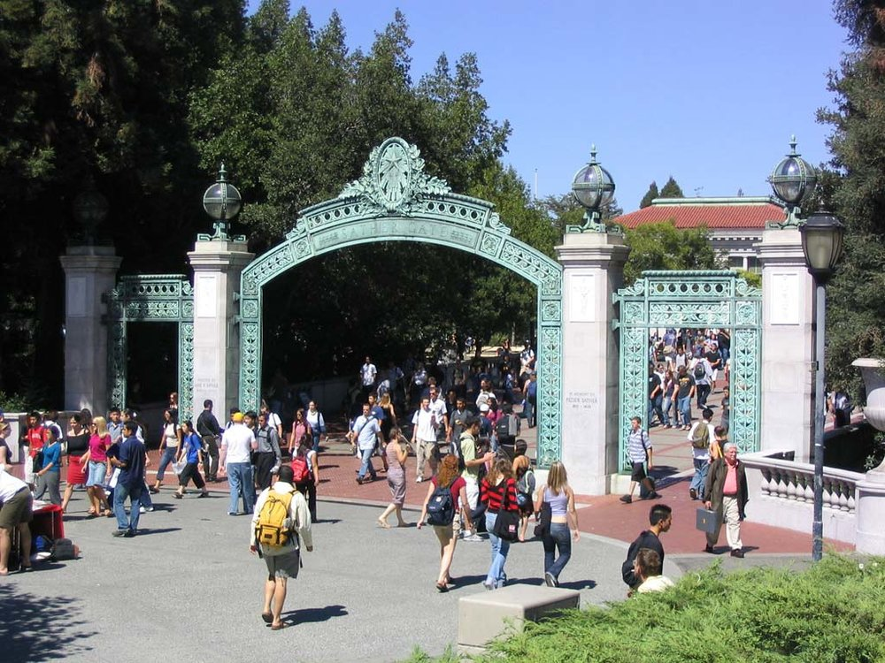 Identity management for learning management systems (social login, SSO, and externally hosted identity providers) has never been easier than with Cirrus Identity. Students pictured here are walking through Sather Gate at UC Berkeley, but many students opt for remote classes using a learning management system.