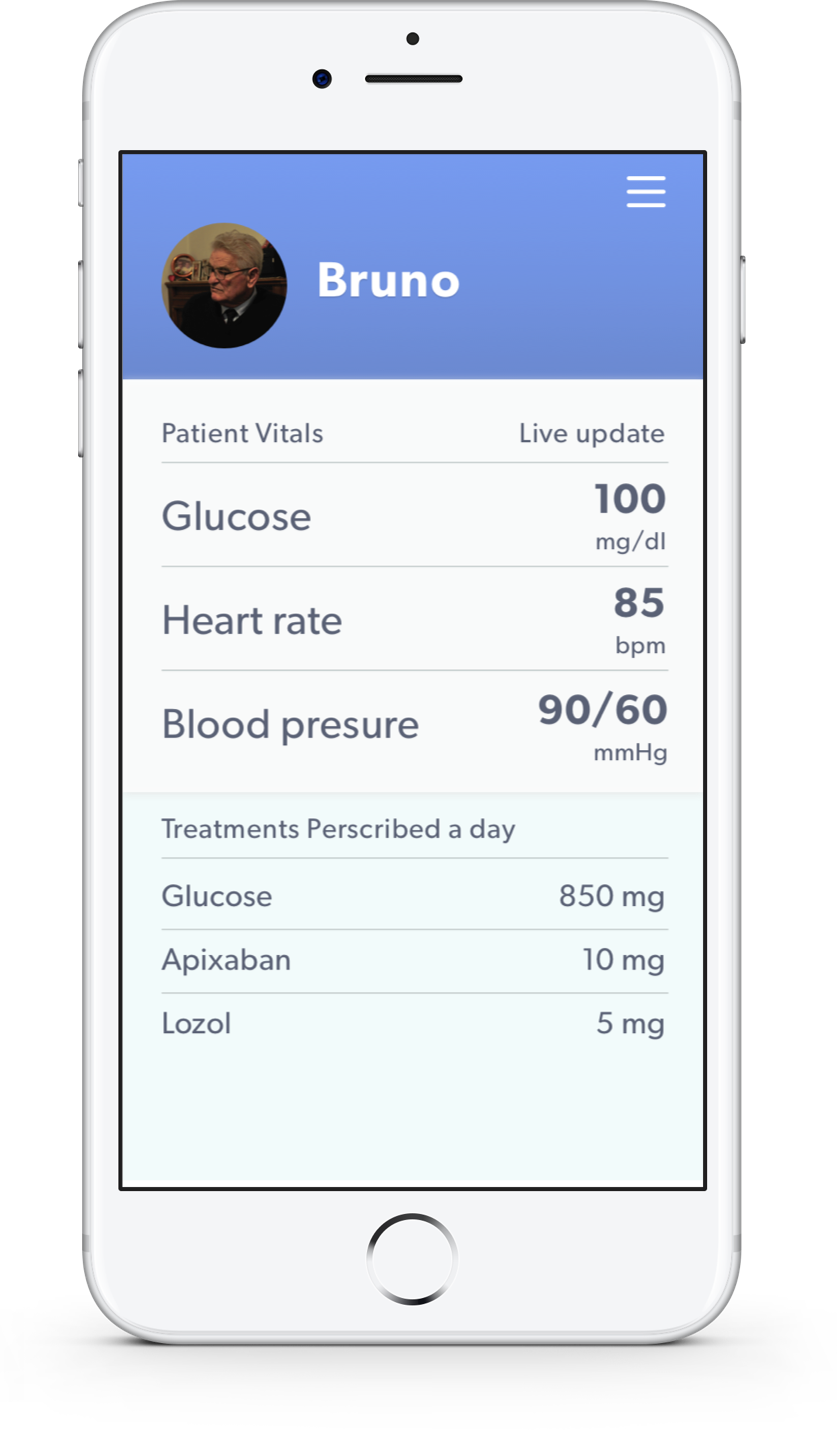 Showing a patients' status remotely