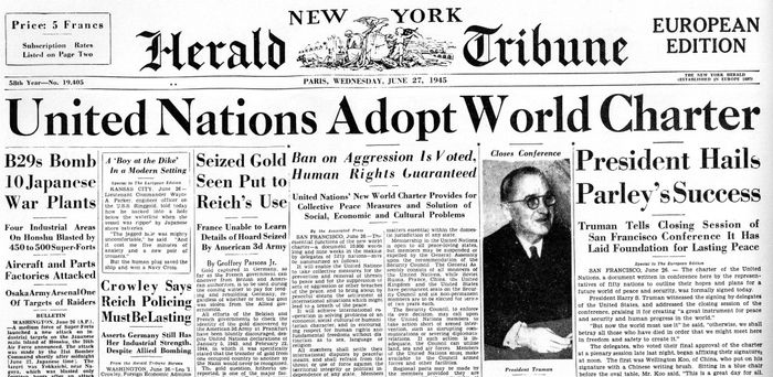 June 26, 1945: the United Nations' Charter is signed in San Francisco