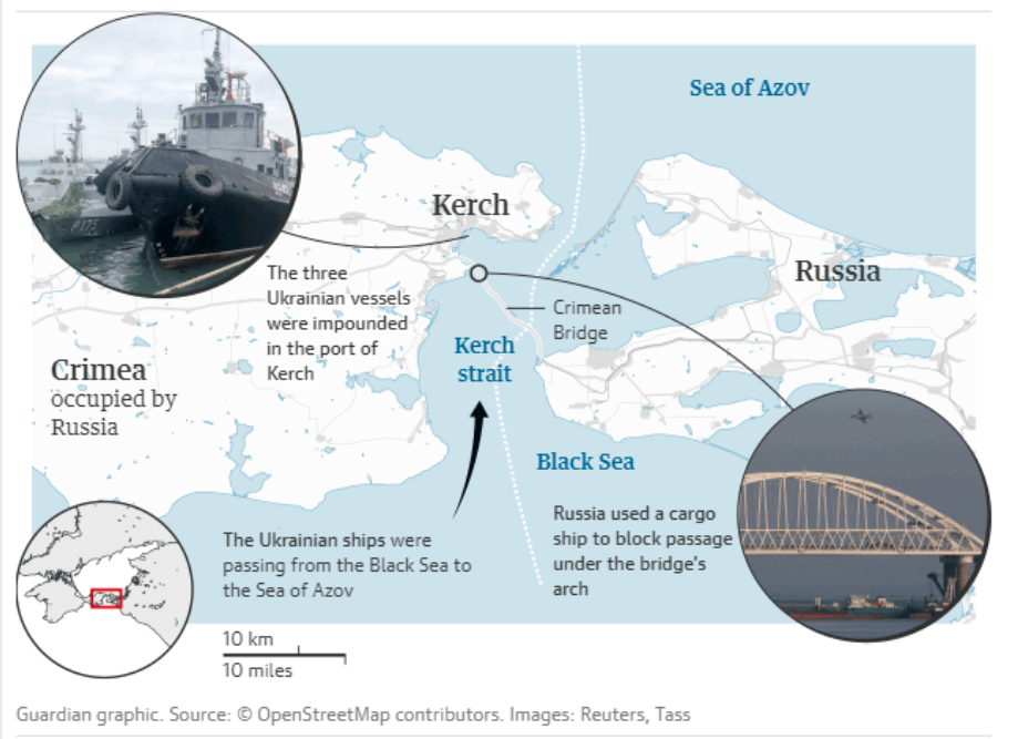 Guardian graphic. Source : OpenStreetMap contributors. Images : Reuters, Tass