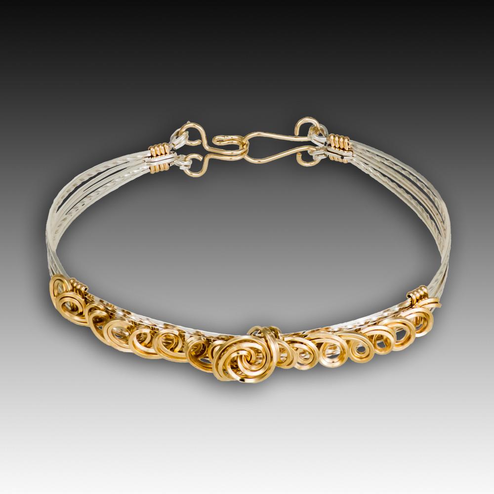 Tendrils Bracelet - Sterling Silver and 14K Gold Filled wire
