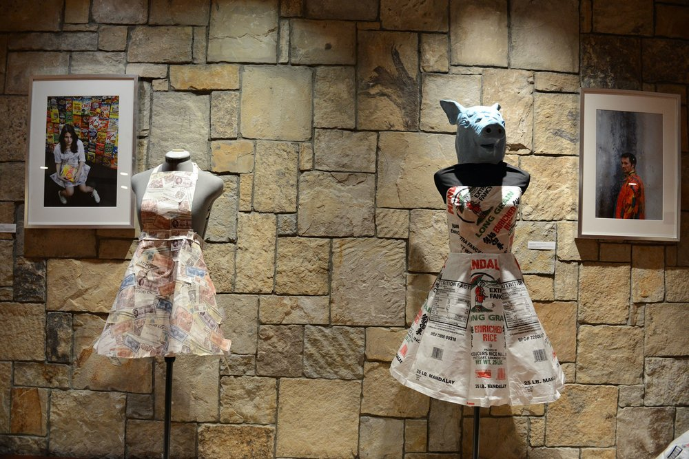 Dresses made of money and rice bags which were inspired by current global issues