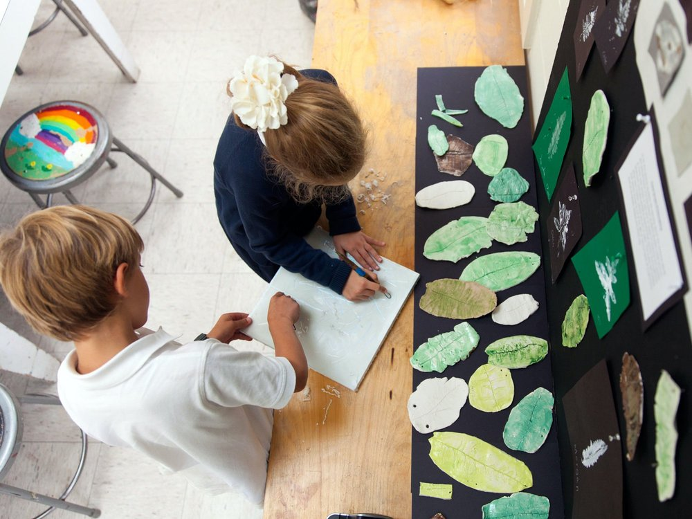 Ross Lower School Students Creating Block Prints in Visual Arts Class as part of their study of patterns in nature