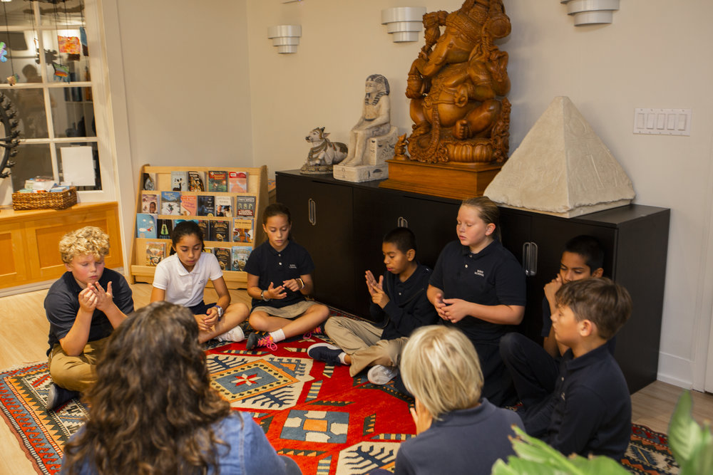 Ross School Elementary School students practicing mindfulness exercises as part of their daily wellness routine.