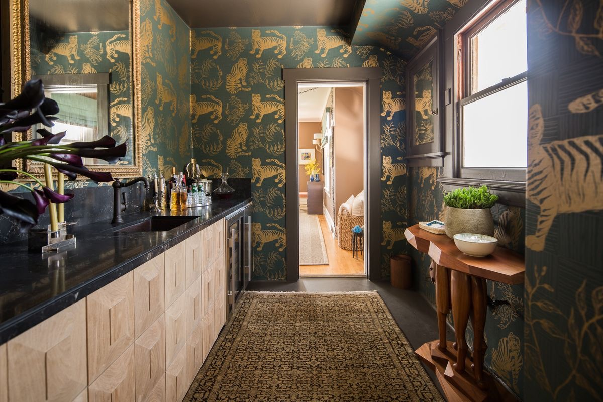 Tiger Magpie Wallpaper in Hunter, Interiors by Nicole Gordon Studio