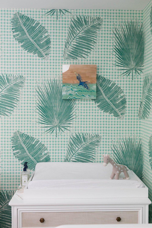Gingham Jungle Wallpaper in Jade, SL230-02