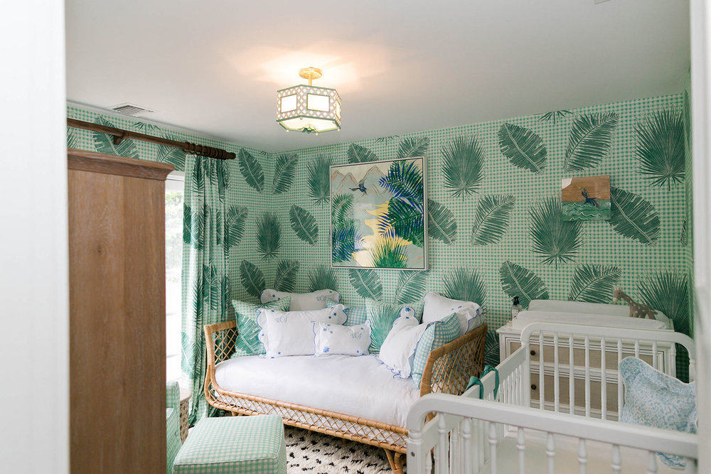 Gingham Jungle Wallpaper in Jade  Interiors by Sharon Lee; Photo by Mekina Saylor