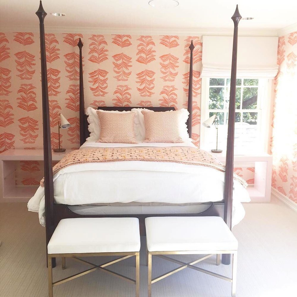 Banana Leaf Wallpaper in Coral Pink, Interiors by Carrie Hatfield Design