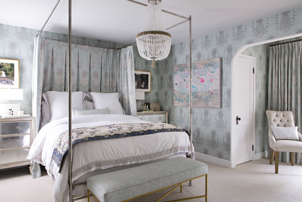 Royal Pineapple Wallpaper in Celadon, Interiors by Sharon Lee, Photo by Karyn Millet